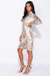 White Gold Baroque Sequin Sheer Panel Midi Dress