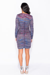 Purple Metallic V Neck Ruching Detail Bodycon Mini Dress