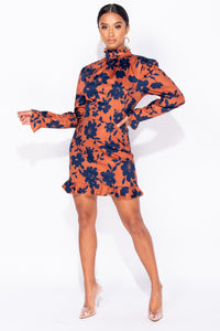 Rust Floral High Neck Long Sleeve Frill Hem Dress