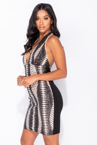 Nude Black Sequin Front Plunge Front Halterneck Bodycon Dress