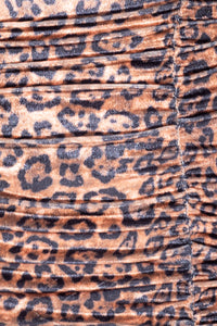 Leopard Print Ruching Detail Cami Style Bodycon Mini Dress