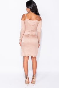 Champagne Satin Lace Trim Detail Cold Shoulder Front Slit Bodycon Mini Dress