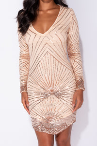 Nude Sequin Asymmetric Hem Plunge Neck Long Sleeve Bodycon Mini Dress