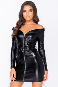 Black Leather Look Biker Style Long Sleeve Bodycon Mini Dress