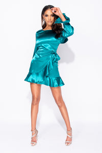 Jade Satin Wrap Front Tie Up Frill Detail Long Sleeve Mini Dress