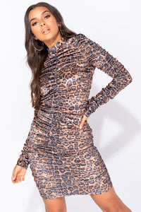 Leopard Print High Neck  Ruching Detail Bodycon Mini Dress
