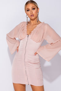 Nude Satin Sheer Panel Zip Front Frill Detail Bodycon Mini Dress