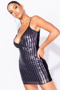 Black Silver Sequin Stripe Contrast Back Wrapover Front Bodycon Mini Dress