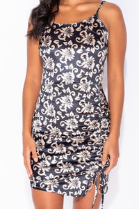 Black Gold Floral Print Velvet Ruching Detail Bodycon Mini Dress