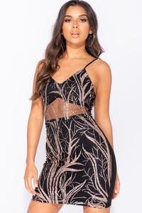 Black Gold Sequin Mesh Cami Style Bodycon Mini Dress
