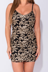Black Gold Floral Glitter Print Cami Style Bodycon Mini Dress