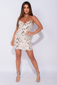 Nude Silver Geometric Sequin Front Cami Style Bodycon Mini Dress