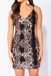 Black Baroque Sequin Crossover Back Bodycon Mini Dress