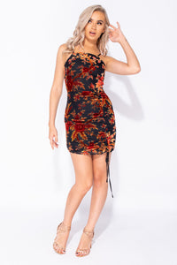 Black Rust Floral Burn Out Ruched Tie Detail Bodycon Mini Dress