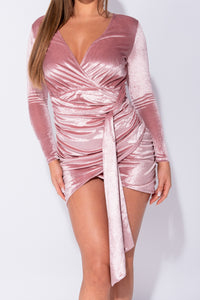 Dark Pink Velvet Wrap Front Ruched Sash Detail Long Sleeve Bodycon Mini Dress