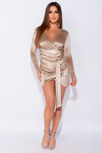 Nude Velvet Wrap Front Ruched Sash Detail Long Sleeve Bodycon Mini Dress