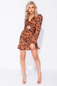 Brown Black Abstract Leaopard Cut Out Ruched Tie Up Detail Frill Hem Bodycon Mini Dress