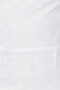 White Polka Dot Sheer High Neck Frill Trim Dress