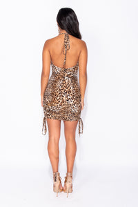 Brown Leopard Velvet Cowl Neck Halterneck Bodycon Dress