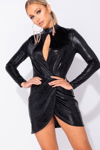 Black Snake Print Wet Look Cut Out Wrap Front Bodycon Mini Dress