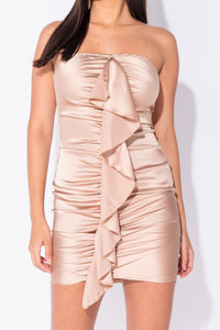 Champagne Satin Ruched Frill Detail Bandeau Bodycon Mini Dress