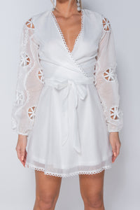 White Broderie Anglaise Puff Sleeve Wrapover Belted Mini Dress