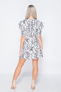 White Black Printed Puff Sleeve Frill Hem V Neck Mini Dress