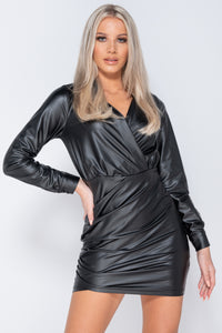 Black PU Wrapover Front Long Sleeve Bodycon Mini Dress