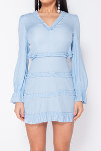 Blue Tiered Detail Long Sleeve Cut Out Back Mini Dress