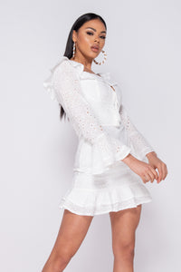 White Broderie Anglaise Frill Detail Tie Front Mini Dress