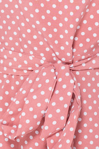 Pink Polka Dot Frill Hem Waist Tie High Neck Mini Dress