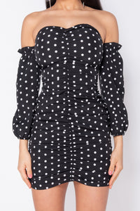 Black Polka Dot Ruching Detail Long Sleeve Bardot Dress