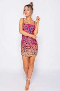 Fuschia Leopard Print Ruching Detail Bodycon Mini Dress