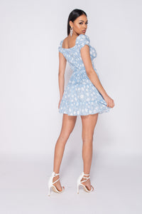 Blue Daisy Floral Frill Detail Button Up Front Mini Dress