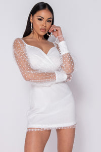 White Polka Dot Sheer Puff Sleeve Mini Dress