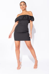Black Ruching Detail Bardot Mini Bodycon Dress