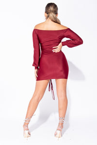 Wine Slinky Ruched Balloon Sleeve Bardot Mini Dress