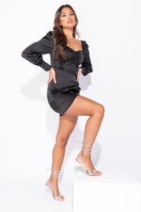 Black Satin Balloon Long Sleeve Mini Dress