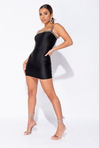 Black Diamante Trim Strappy Bodycon Mini Dress