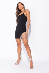 Black Chain Trim Strappy Mini Dress