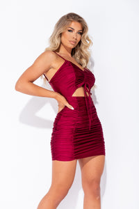 Wine Slinky Ruched Cut Out Strappy Mini Dress