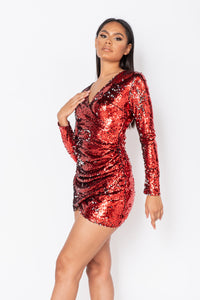 Red Sequin Long Sleeve Wrapover Mini Dress
