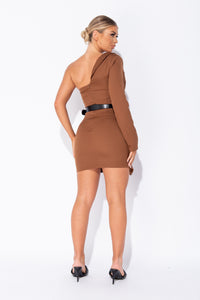 Brown Asymmetric Sleeve Belted Mini Blazer Dress