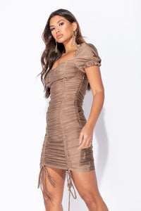 Mocha Slinky Cup Detail Ruched Puff Sleeve Mini Dress