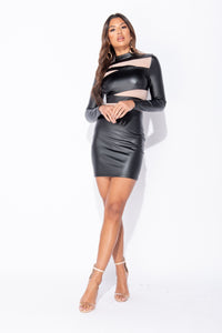 Black Wet Look Mesh Panel Long Sleeve Bodycon Dress