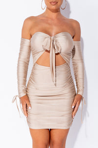 Beige Slinky Tie Front Strapless Bardot Mini Dress