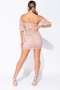 Pink Ruching Detail Mesh Puff Sleeve Bardot Mini Bodycon Dress