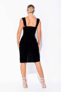 Black Velvet Wrapover Midi Dress
