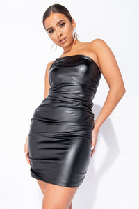 Black Wet Look Ruched One Shoulder Bodycon Mini Dress