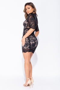 Black Lace High Neck Contrast Lining Mini Dress